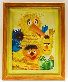 Vintage Hand Painted Sesame Street Bert Ernie Big Bird Oil Painting Signed