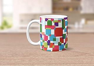 Taza de té o café geométrica con diseño de patchwork rosa, azul, verde y morado 11 oz