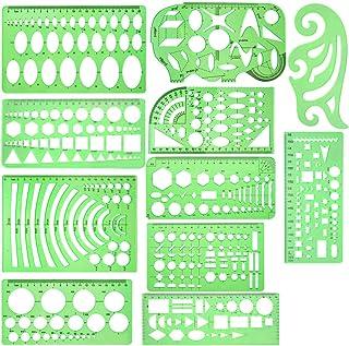 11 قطعة من قوالب رسومات هندسية - مسطرة ومرسام وقوالب قياس بلاستيكية - قوالب بأشكال خضراء شفافة للرسم الهندسي ولوازم المكتب...