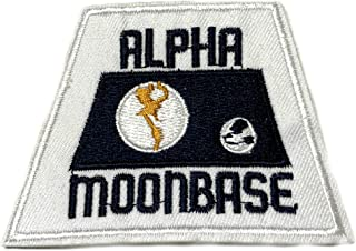 Alpha Moon Base NASA Embroidered Patch Iron-on or Sew-on Astronaut Earth Vector Logo Apollo Shuttle Souvenir Space Program Explorer Mission Series Emblem Badge DIY Appliques Fabric Patches