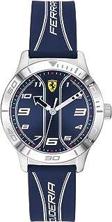 Ferrari Boys' Academy Stainless Steel Quartz Watch with Silicone Strap, Blue, 16 (Model: 0810026)