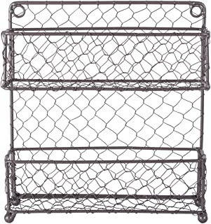 DII Z01446 Vintage Metal Chicken Wire Organizer for Kitchen Wall, Pantry, Cabinet or Counter, Small/9.5