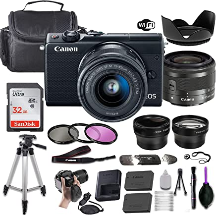 $439 Get Canon EOS M100 Mirrorless Digital Camera (Black) w/EF-M 15-45mm f/3.5-6.3 is STM + Wide-Angle and Telephoto Lenses + Portable Tripod + Memory Card + Deluxe Accessory Bundle