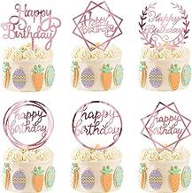 6 Pack gelukkige Cake Topper Acryl Cupcake Topper for verschillende Birthday Cake Decoration for Kids Baby Shower zcaqtajr...