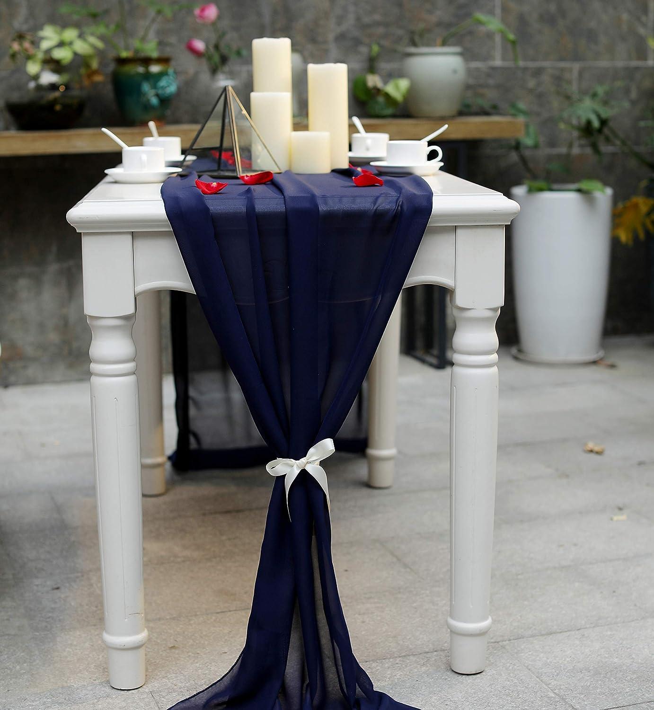 Navy Denver Mall Blue Wedding Table Runner Japan Maker New - 29 x I Chiffon 130