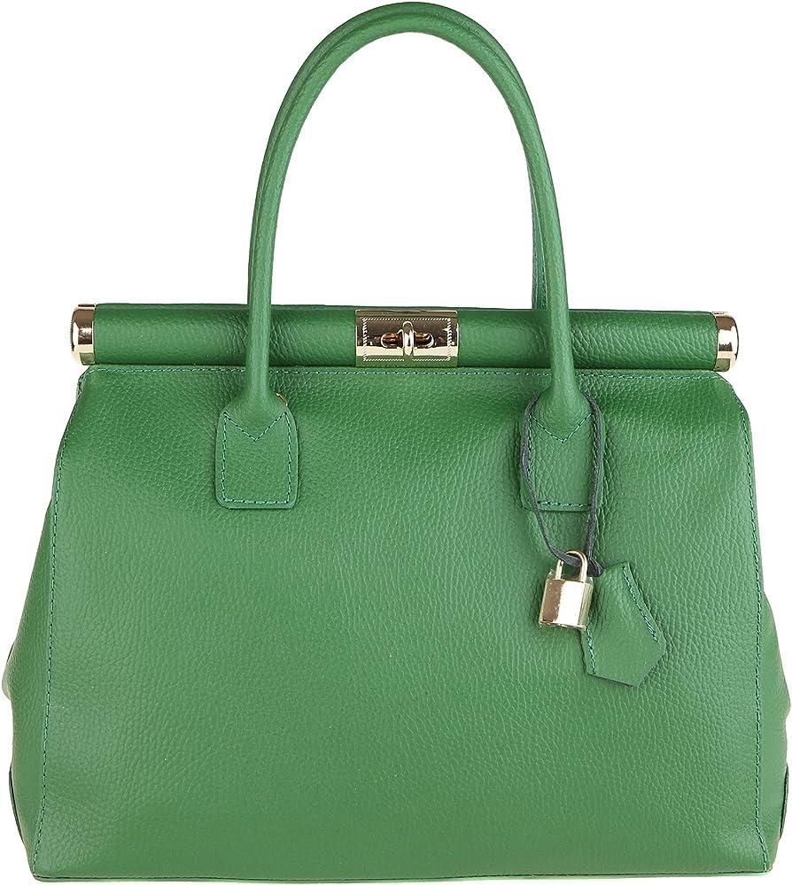 Chicca borse handbag borsa a mano/tracolla da donna in vera pelle DDD8005-VERDE_CTM