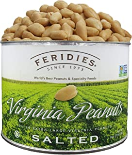 FERIDIES Super Extra Large Salted Virginia Peanuts - 9oz Tin with special Peanut Harvest Packaging