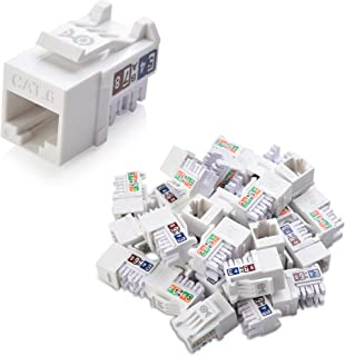 Cable Matters UL Listed 25-Pack Slim Profile 90 Degree Cat 6, Cat6 RJ45 Keystone Jack with Keystone Punch Down Stand in White