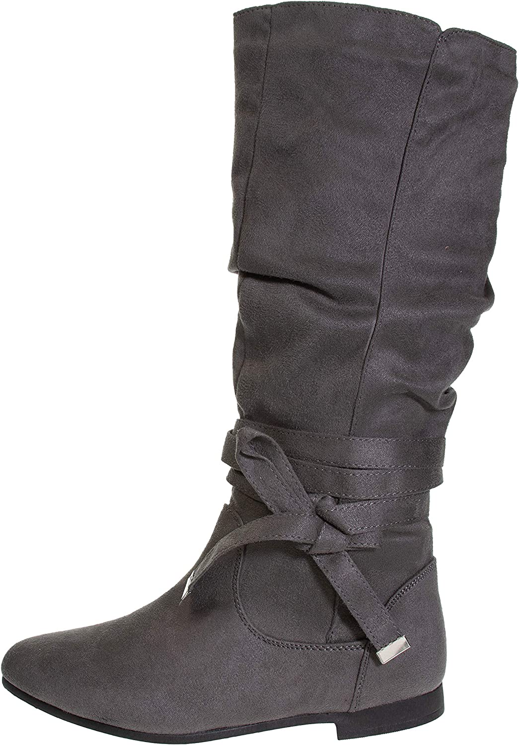 Women's Microsuede Knee-High Riding Boot with Wrap Around Bow Straps Slide-On Fashion Shoes