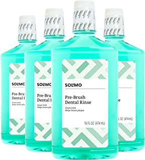 Amazon Brand - Solimo Pre-Brush Dental Rinse, Green Mint, 16 Fluid Ounce (Pack of 4)