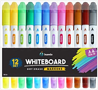 Dry Erase Markers for Whiteboard - Dual Tip, Medium and Fine Point – Pens for White Board, Perfect for Home, School or Office - Low Odor, 12 Set Assorted Colors