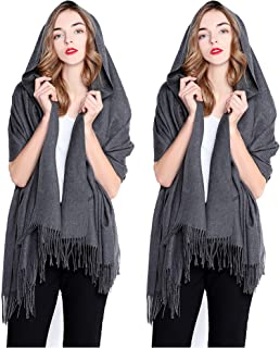 REEMONDE Large Extra Soft Cashmere Blend Women Pashmina Shawl Wrap Stole Scarf (2 Pack - Dark Grey)