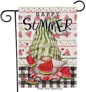 Artofy Happy Summer Gnome Decorative Garden Flag, House Yard Buffalo Plaid Check Decor Watermelon Outdoor Small Burlap Flag Double Sided, Home Outside Seasonal Farmhouse Decorations 12 x 18