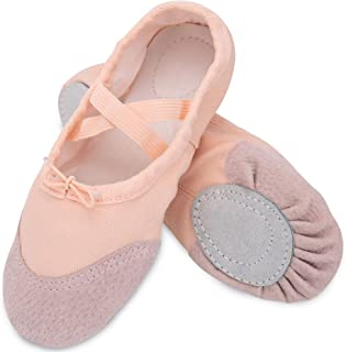 Blitzby Ballet Practice Shoes, Flats Canvas Dance Shoes, Yoga Shoes for Dancing for Girls (Toddler/Little Kid/Big Kid) US 2M Little Kid Pink