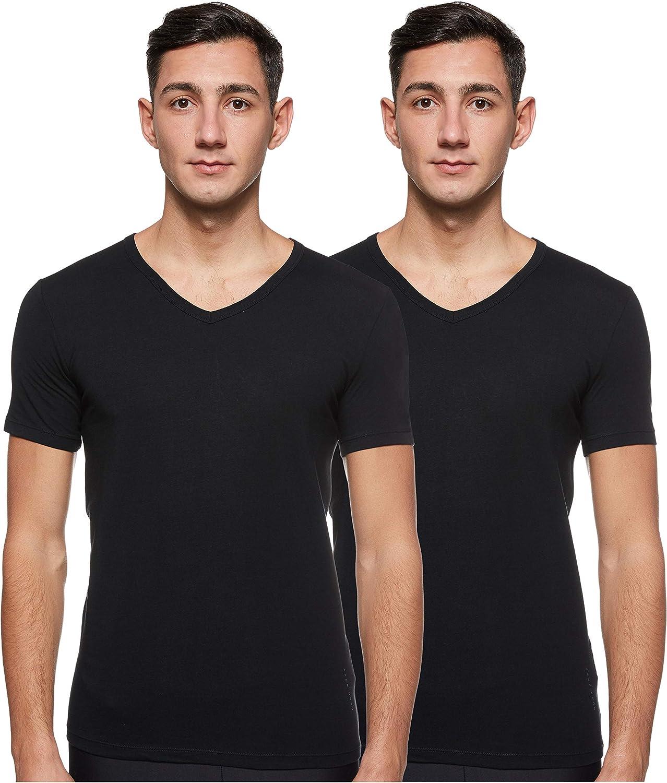Hugo Boss Men/'s V-neck Logo T-Shirt in Black