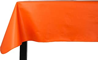 Yourtablecloth Heavy Duty Vinyl Rectangle or Square Tablecloth – 6 Gauge Heavy Duty Tablecloth – Flannel Backed – Wipeable Tablecloth with Vivid Colors & Many Sizes 52 x 70 Orange