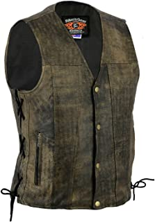 Bikers Gear Australia Men's Distressed Brown Harley Style Premium Leather A Grade Vest with Lacing