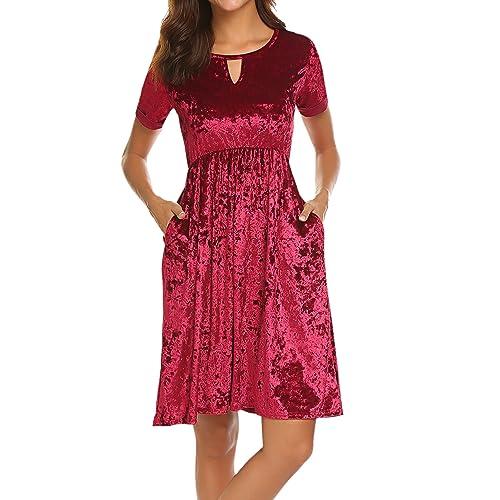 1a56c596e7 Halife Women s Roll Over Sleeve Knee High Low Hem Crushed Velvet Midi Dress