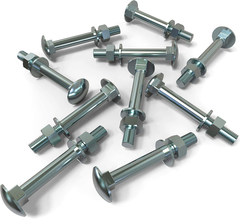 Muttern und U-Scheiben L/änge 30-160mm Auswahl 10x M12x160 10 St/ück Schlossschrauben M12 x 160 Flachrundkopfschrauben