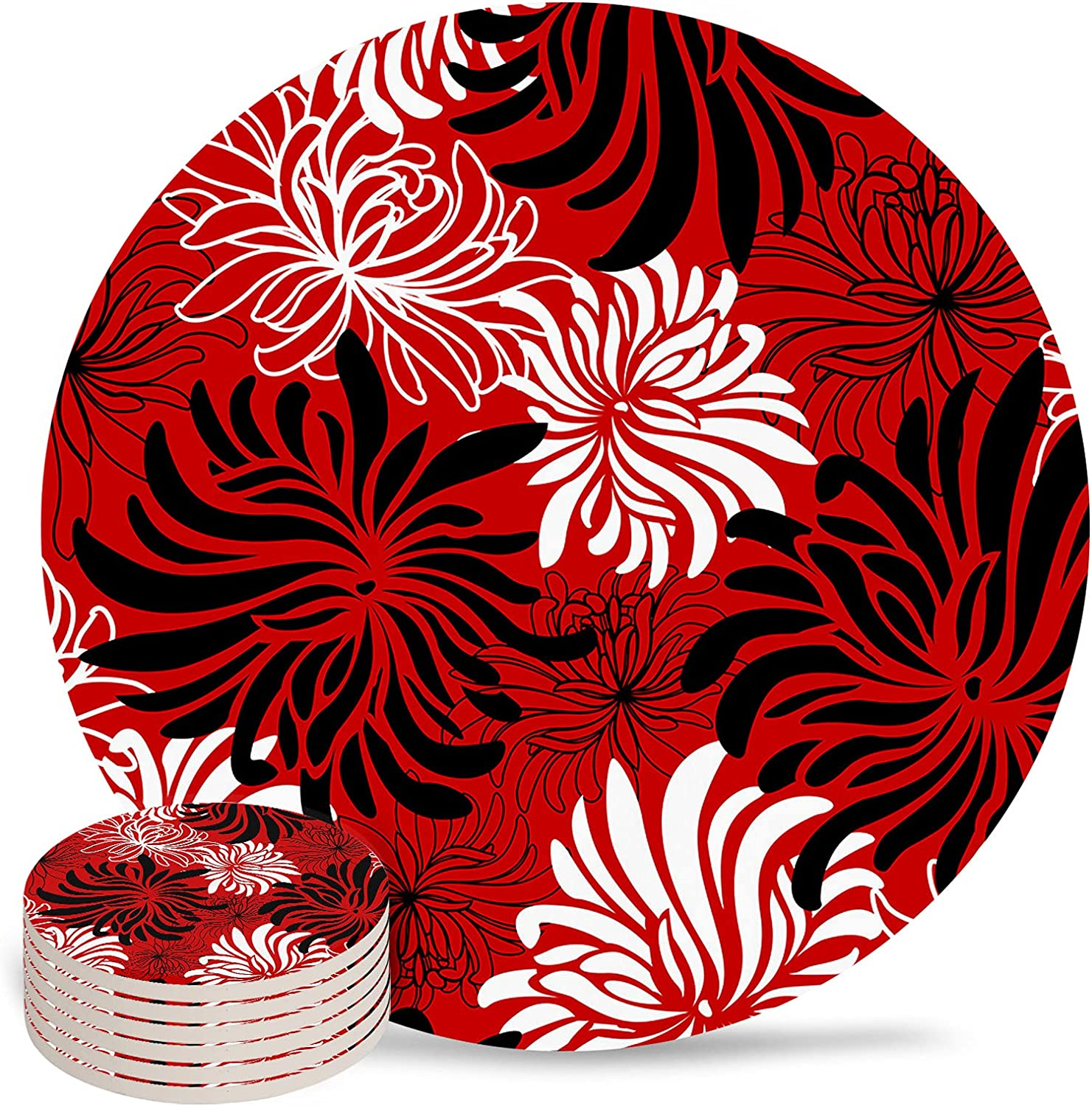 Floral Coaster for Drinks 4 Year-end gift Inch C Absorbent Drink Pad Ceramic Some reservation