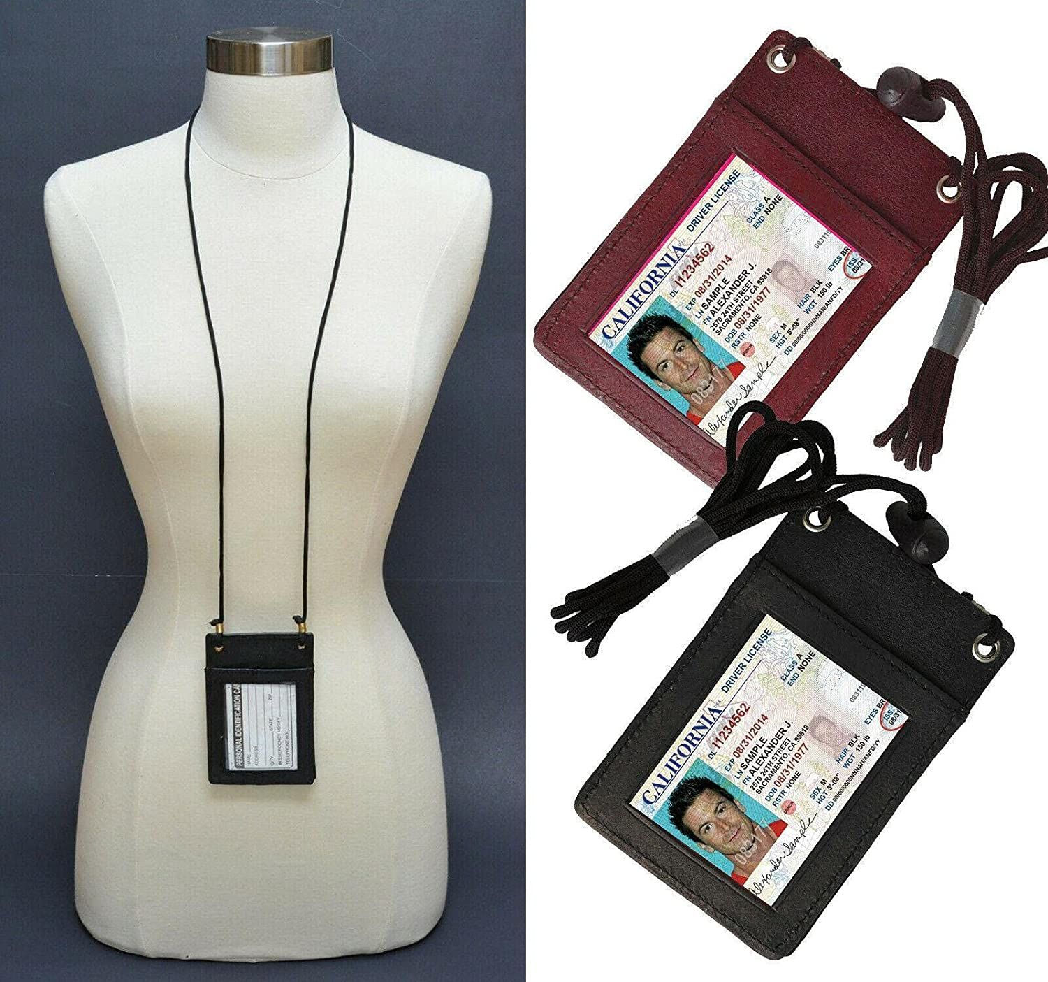 Brown Genuine Leather ID Super special price Badge Holder Pouch Wall Card Neck Same day shipping Strap