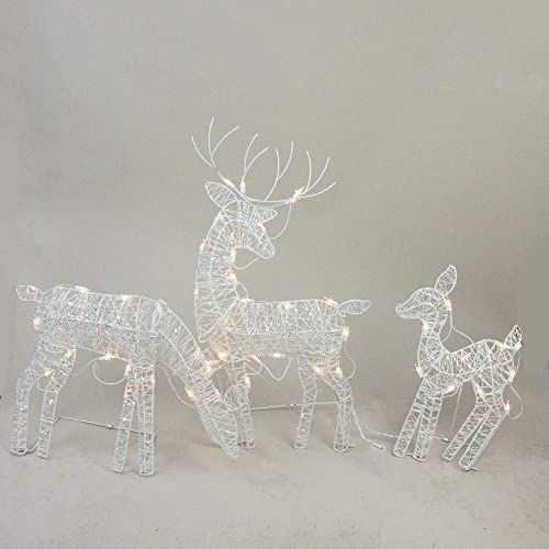 Northlight Set of 3 White Glittered Doe, Fawn and Reindeer Lighted  Christmas Outdoor Decoration - Christmas Lighted Reindeer Outdoor: Amazon.com
