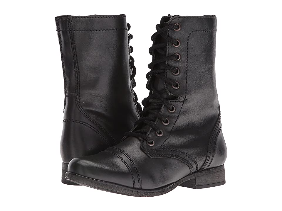 Vintage Boots- Winter Rain and Snow Boots Steve Madden Troopa Combat Boot Black Leather Womens Lace up casual Shoes $79.95 AT vintagedancer.com