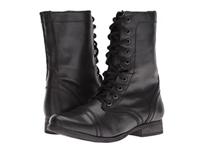 Steve Madden Troopa Combat Boot (Black Leather) Women