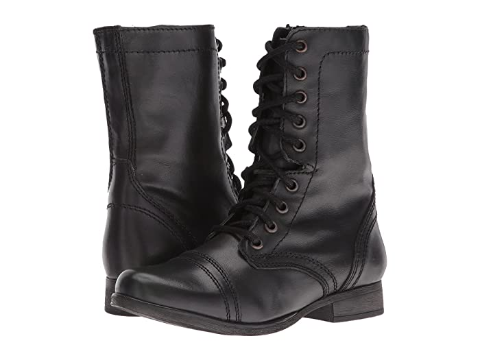Retro Vintage Style Wide Shoes Steve Madden Troopa Combat Boot Black Leather Womens Lace up casual Shoes $79.95 AT vintagedancer.com