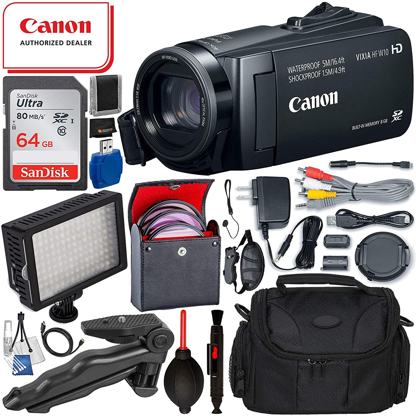 Canon Vixia HF W10 Waterproof Camcorder (3909C001AA – USA Warranty) with 16PC Accessory Bundle – Includes: SanDisk Ultra 64GB SDXC Memory Card + 160 LED Professional Video Light + More