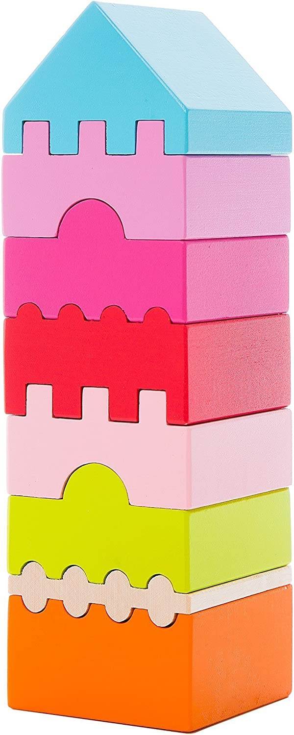 Wise Elk Wooden Toy Wood Puzzle Tower, Organic Wooden Toy, 8 colorful Blocks