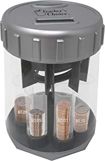 Teacher's Choice Digital Coin Counter Automatic Coin Sorters - 2019 Version - Digitally Keeps Count of, Automatically Sorts U.S. Coins into Individual Tubes, with 20 Coin Wrappers Included