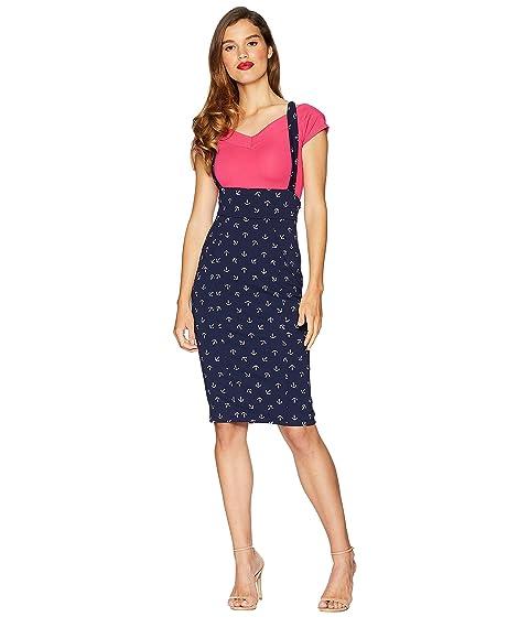 Cheap Sale Sale Unique Vintage Sabrina Suspender Skirt Navy Blue/Anchor Print Clearance Wide Range Of Fashion Style wpjWNH6DLh