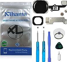 Xlhama Nuevo Home Button botón de Inicio para iPhone 6/6 Plus Negro, Kit de desmontaje de Soporte de Metal preinstalado Transformación de reemplazo con Herramientas Completas
