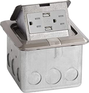 Lew Electric PUFP-SQ-SS-USB Floor Pop Up Power Box w/15A Duplex Receptacle and 2 USB Charging Ports - Stainless Steel