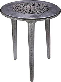 Rustic Wooden Table with 3 Legs Pillars, White Night Stands for Bedrooms, Bedside Table, Coffee Table Mid Century Modern, Desk Side Table, Round Coffee Table -18x22 Inch Dark Grey