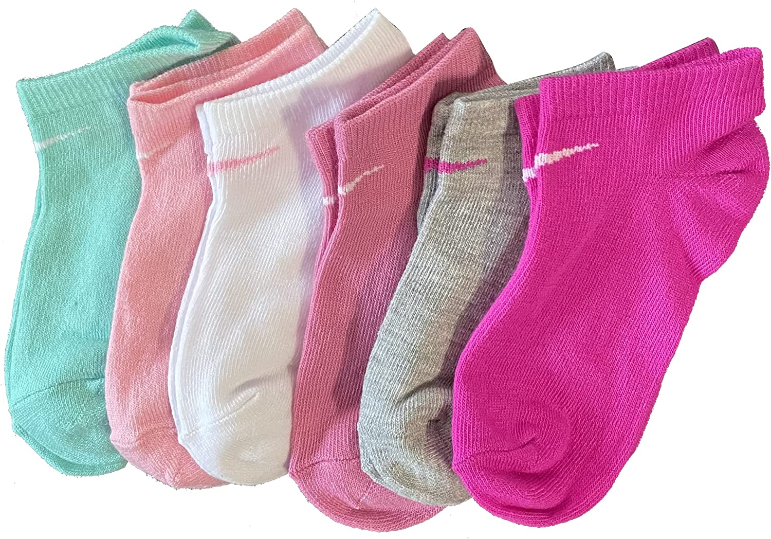Nike Little Girl's No show Socks (6 Pairs), Shoe Size 10C-3Y/5-7 (Sock Size)