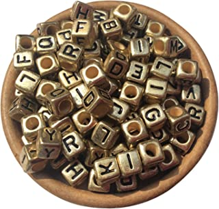 EmmaGreen Letter Beads Gold Acrylic Alphabet Single Separate Beads for Jewellery Making A-z Cube Beads