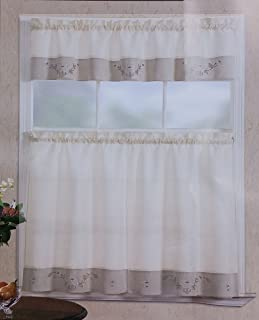 Fancy Linen 3pc Beige Taupe with Embroidered White Floral Kitchen/Cafe Curtain Tier and Swag Set