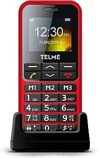 Emporia TELME C151 (bardzo duży podświetlany telefon komórkowy z dużymi przyciskami), czerwony