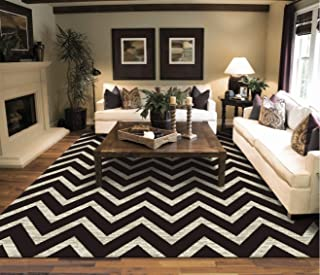 New Chevron Black & Ivory Area Rugs For Living Room 5x7 ZigZag Rugs For Bedroom, 5x8 Black Zig Zag Rug