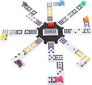 Mexican Dominos – Train Style Set with 91 Colorful Tiles in Suits 0-12 with 9 Plastic Trains & A Center Hub – Fun Classic ...