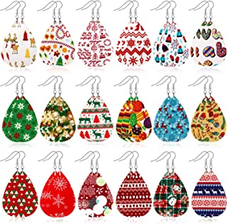 18 Pairs Christmas Faux Leather Earrings Teardrop Dangle Earrings for Christmas Costume