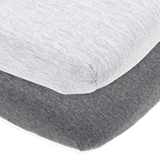 Cuddly Cubs Bassinet Sheets Set Easy to Put On Arms Reach Versatile, Chicco Lullago, Halo bassinest and Many Other Oval, Rectangle Shape Bassinet Pads | 100% Jersey Knit Cotton | Heather Grey