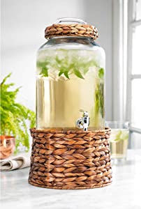 Modern 2 Gallon Wicker Basket Ice Cold Clear Glass Beverage Drink Dispenser With Spigot With Rattan - Great For Parties, Bars, Weddings, & Outdoors & Daily Use