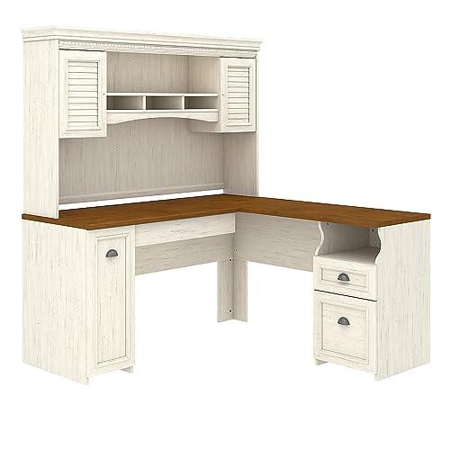 White desk with hutch Antique White Bush Furniture Fairview Shaped Desk With Hutch In Antique White Amazoncom White Computer Desk With Hutch Amazoncom