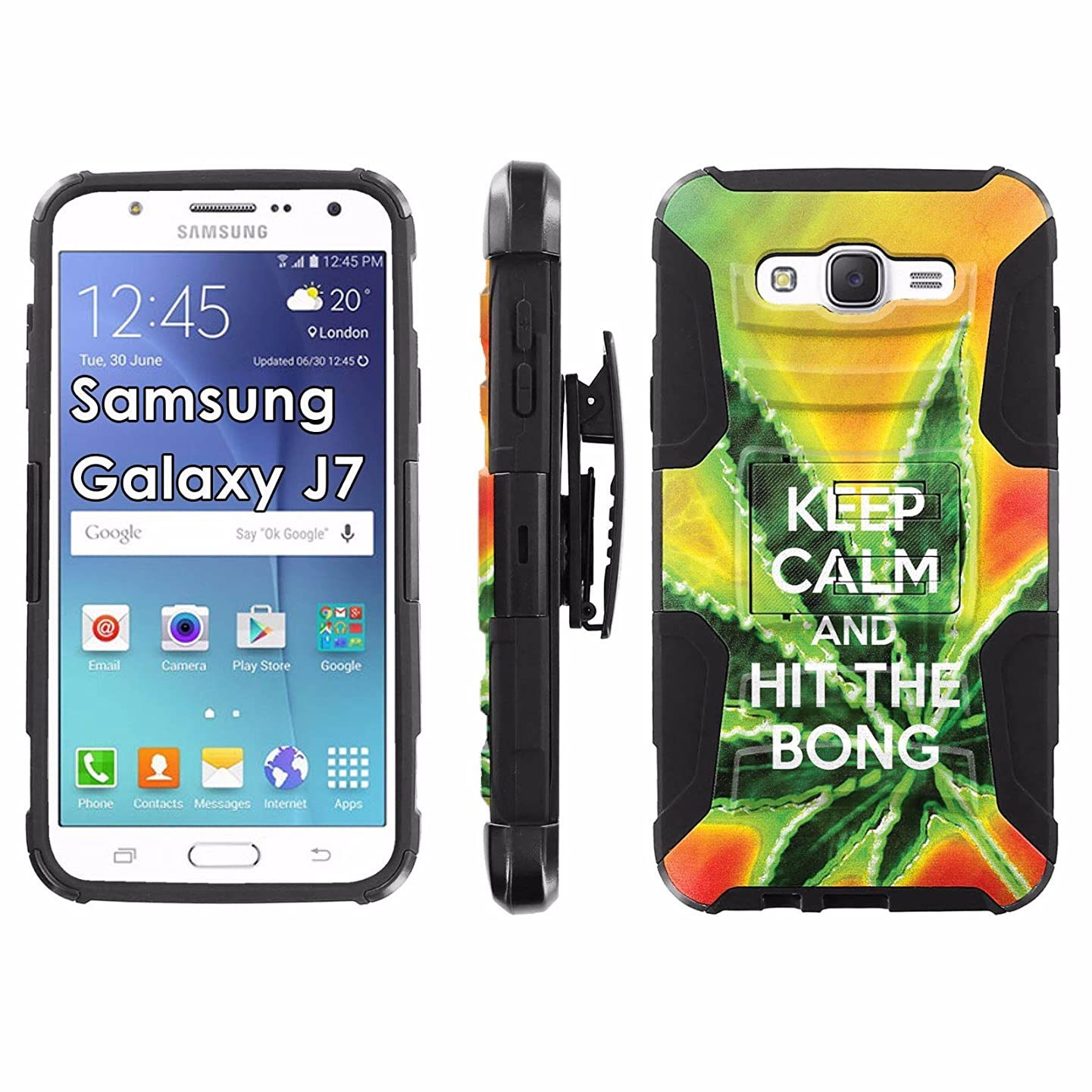 Samsung Galaxy J7 Phone Cover, Keep Calm Hit the Bong- Black Blitz Hybrid Armor Phone Case for [Samsung Galaxy J7] with [Kickstand and Holster]