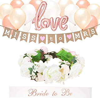 Rustic Bridal Shower Bachelorette Party Decorations Kit | Handmade Flower Crown – Rose Gold, Pearl White, Coral Champagne Balloons – Burlap Jute Banner – 'Bride to Be' Sash – 'Love' Foil Balloons