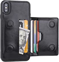 iPhone Xs Max Wallet Case with Credit Card Holder, KIHUWEY Leather Kickstand Durable Shockproof Protective Hidden Magnetic...