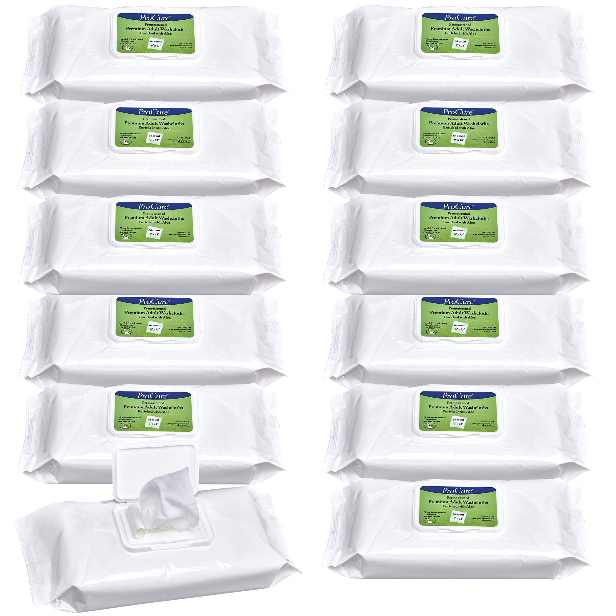 "Disposable Wet Adult Wipes, 768 Pack - Pre Moistened Soft Washcloths for Elderly and Babies - Enriched with Aloe and Lanolin, Hypoallergenic and Alcohol Free - Premium Quality, 9""x13"""